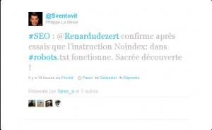 #SEO : @Renardudezert confirme après essais que l'instruction Noindex: dans #robots.txt fonctionne. Sacrée découverte !